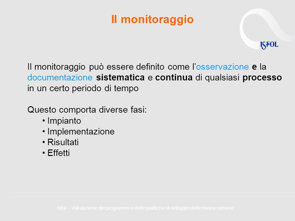 Il monitoraggio Il monitoraggio può essere definito come losservazione e la documentazione sistematica e continua di qualsiasi processo in un certo pe