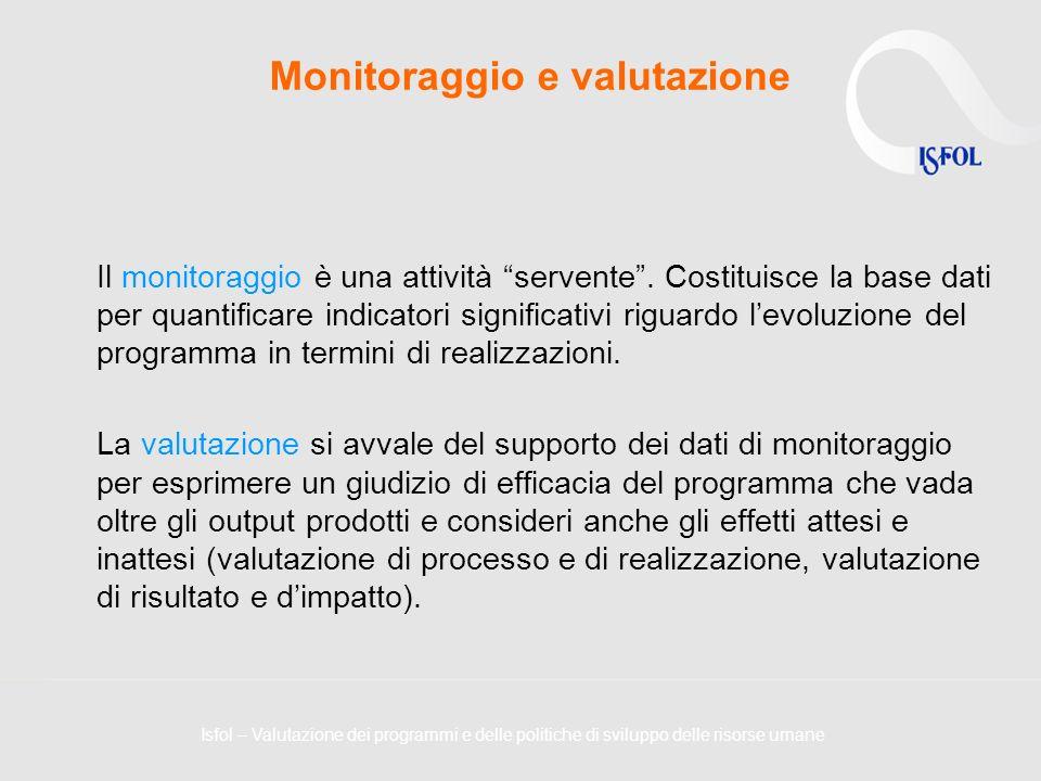 Monitoraggio e valutazione Il monitoraggio è una attività servente. Costituisce la base dati per quantificare indicatori significativi riguardo levolu