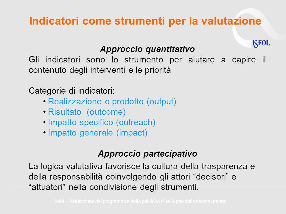 Indicatori come strumenti per la valutazione Approccio quantitativo Gli indicatori sono lo strumento per aiutare a capire il contenuto degli intervent