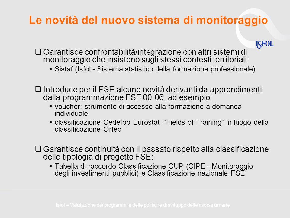 Le novità del nuovo sistema di monitoraggio Garantisce confrontabilità/integrazione con altri sistemi di monitoraggio che insistono sugli stessi conte