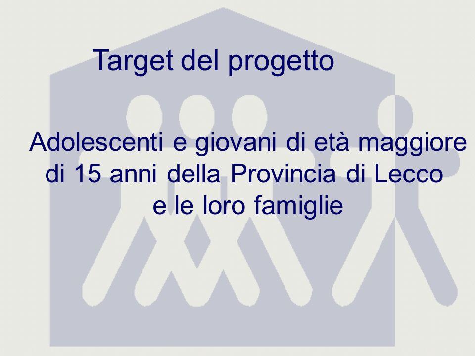 Target del progetto Adolescenti e giovani di età maggiore di 15 anni della Provincia di Lecco e le loro famiglie