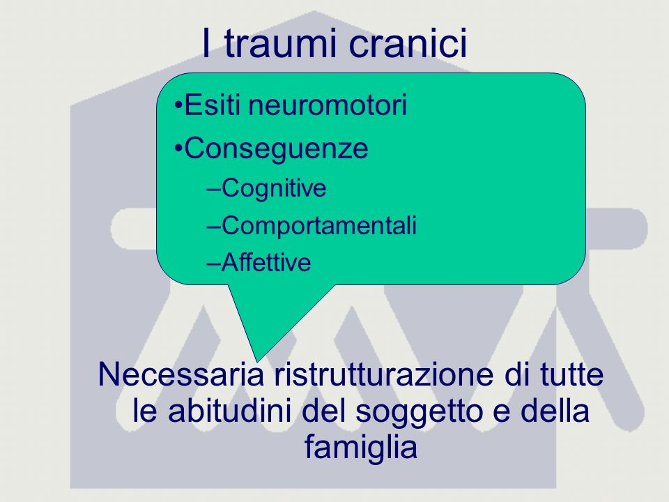 I traumi cranici Necessaria ristrutturazione di tutte le abitudini del soggetto e della famiglia Esiti neuromotori Conseguenze –Cognitive –Comportamentali –Affettive