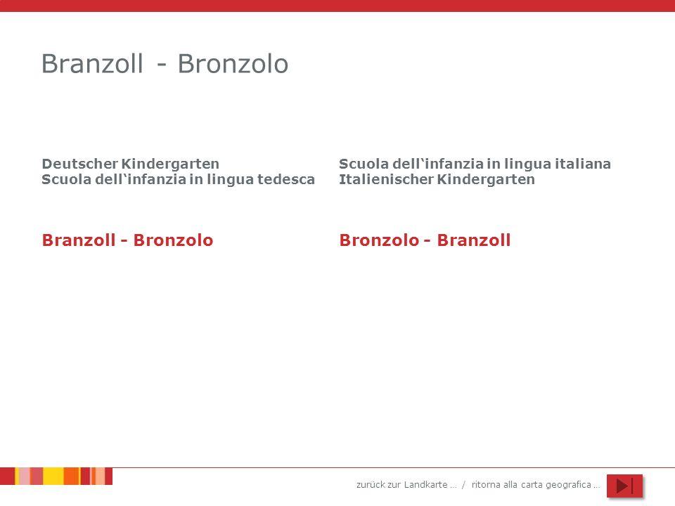 zurück zur Landkarte … / ritorna alla carta geografica … Branzoll - Bronzolo Deutscher Kindergarten Scuola dellinfanzia in lingua tedesca Scuola delli