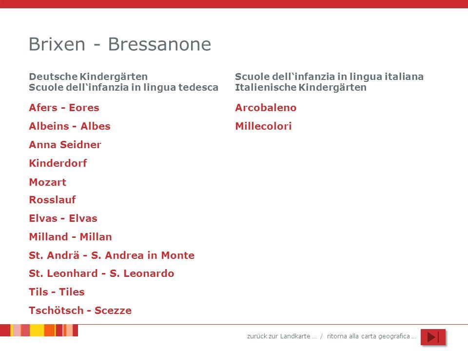 zurück zur Landkarte … / ritorna alla carta geografica … Brixen - Bressanone Anna Seidner Kinderdorf St. Leonhard - S. Leonardo Afers - Eores Elvas -