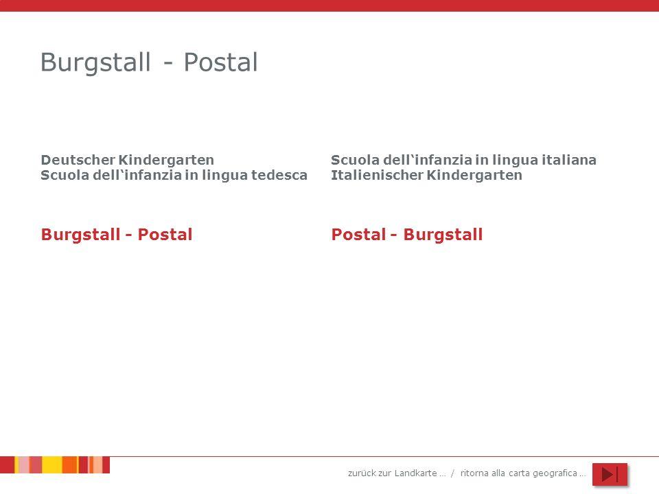 zurück zur Landkarte … / ritorna alla carta geografica … Burgstall - Postal Deutscher Kindergarten Scuola dellinfanzia in lingua tedesca Scuola dellin