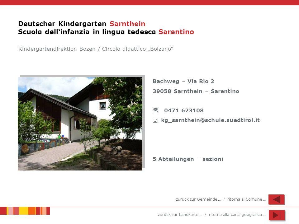 zurück zur Landkarte … / ritorna alla carta geografica … Deutscher Kindergarten Sarnthein Scuola dellinfanzia in lingua tedesca Sarentino Bachweg – Vi