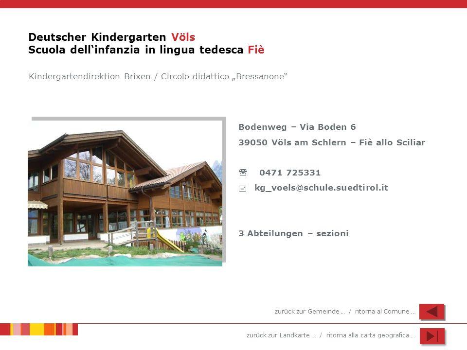 zurück zur Landkarte … / ritorna alla carta geografica … Deutscher Kindergarten Völs Scuola dellinfanzia in lingua tedesca Fiè Bodenweg – Via Boden 6