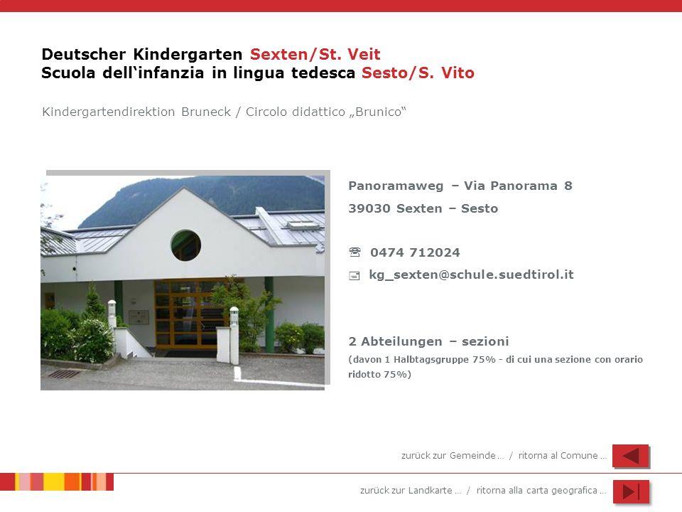 zurück zur Landkarte … / ritorna alla carta geografica … Deutscher Kindergarten Sexten/St. Veit Scuola dellinfanzia in lingua tedesca Sesto/S. Vito Pa