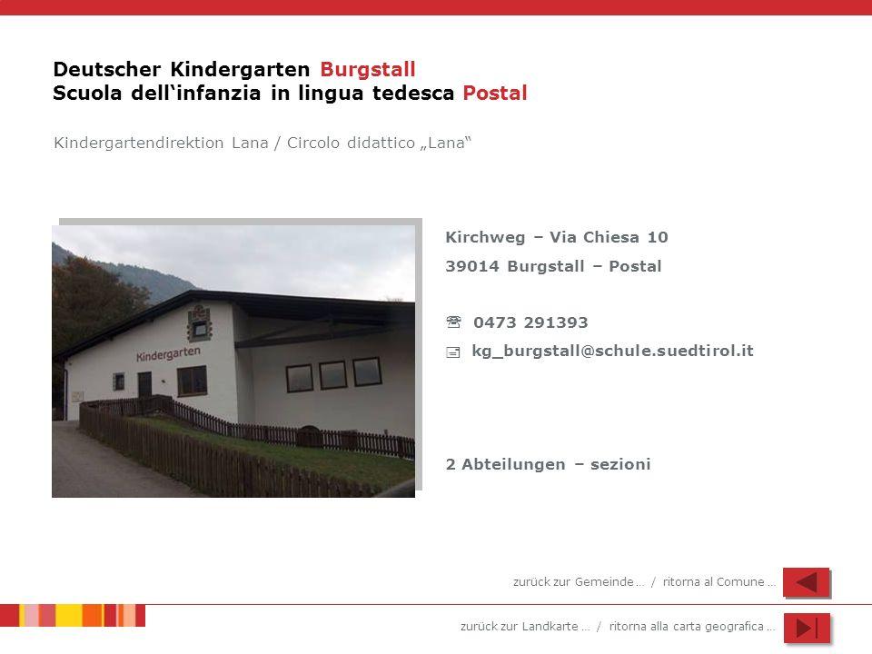 zurück zur Landkarte … / ritorna alla carta geografica … Deutscher Kindergarten Burgstall Scuola dellinfanzia in lingua tedesca Postal Kindergartendir