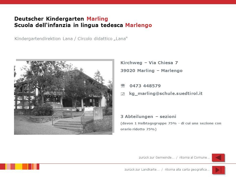 zurück zur Landkarte … / ritorna alla carta geografica … Deutscher Kindergarten Marling Scuola dellinfanzia in lingua tedesca Marlengo Kindergartendir