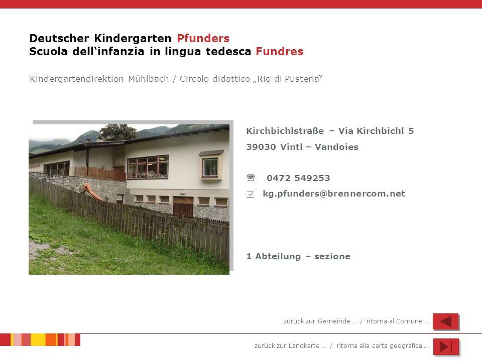 zurück zur Landkarte … / ritorna alla carta geografica … Deutscher Kindergarten Pfunders Scuola dellinfanzia in lingua tedesca Fundres Kirchbichlstraß