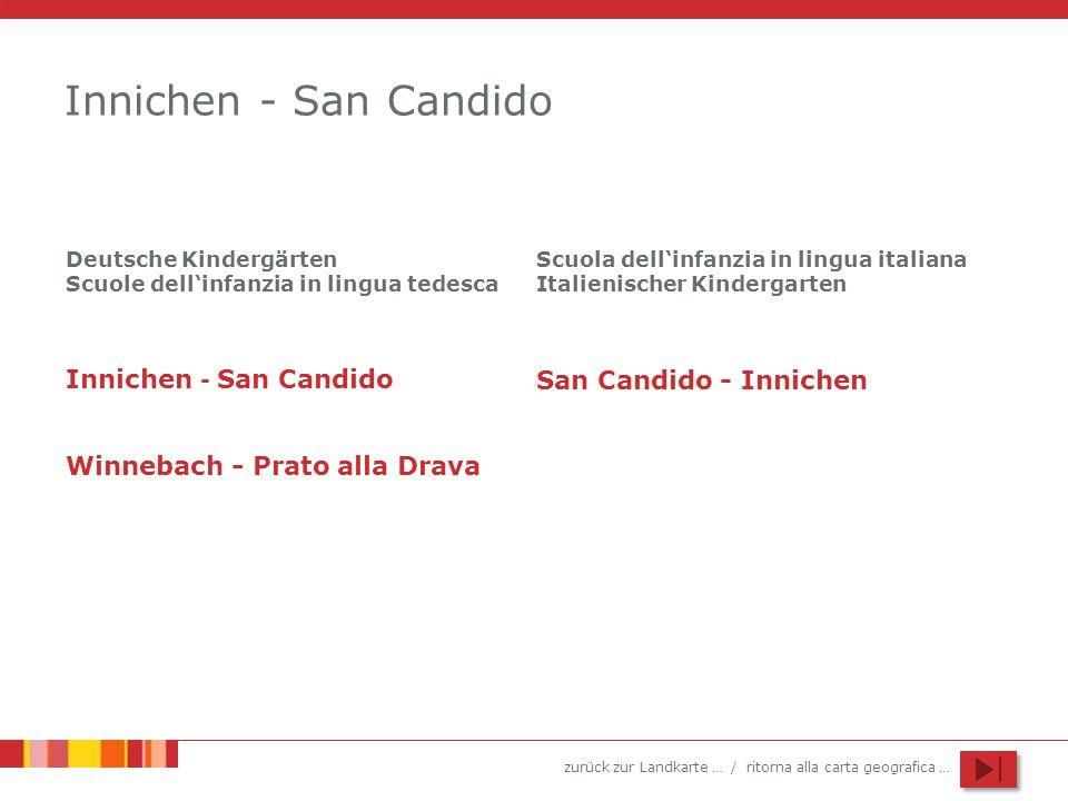 zurück zur Landkarte … / ritorna alla carta geografica … Innichen - San Candido Innichen - San Candido Winnebach - Prato alla Drava Deutsche Kindergär