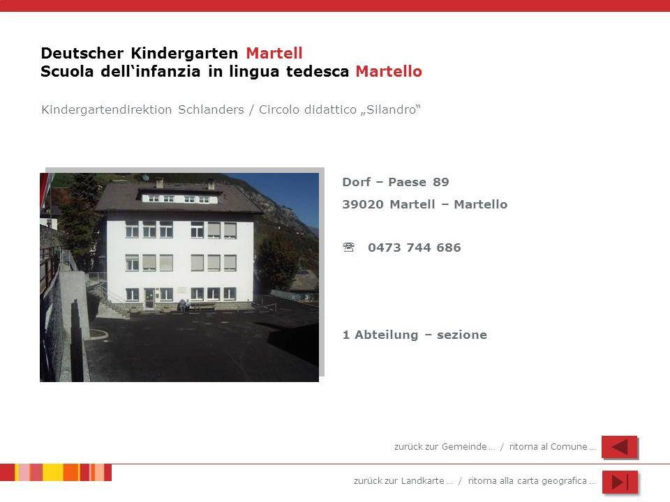 zurück zur Landkarte … / ritorna alla carta geografica … Deutscher Kindergarten Martell Scuola dellinfanzia in lingua tedesca Martello Dorf – Paese 89