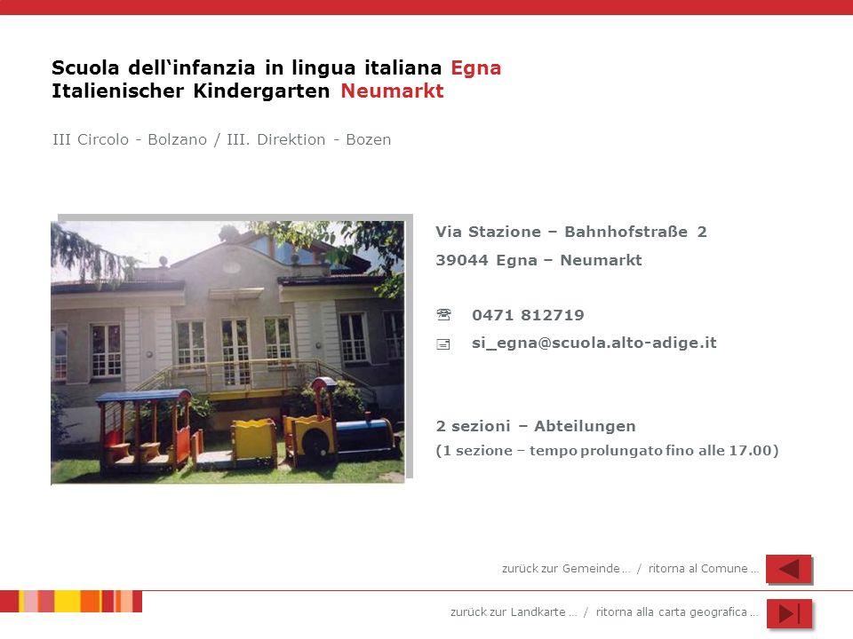 zurück zur Landkarte … / ritorna alla carta geografica … Scuola dellinfanzia in lingua italiana Egna Italienischer Kindergarten Neumarkt Via Stazione