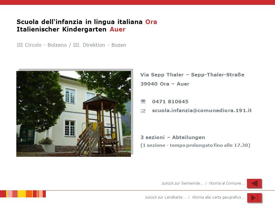 zurück zur Landkarte … / ritorna alla carta geografica … Scuola dellinfanzia in lingua italiana Ora Italienischer Kindergarten Auer Via Sepp Thaler –