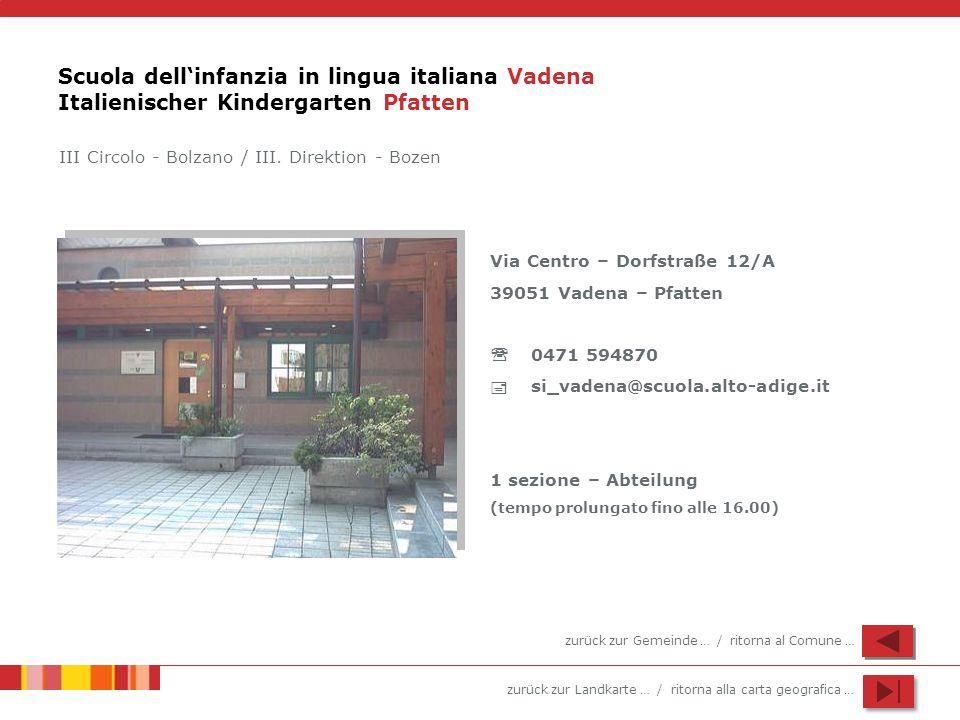 zurück zur Landkarte … / ritorna alla carta geografica … Scuola dellinfanzia in lingua italiana Vadena Italienischer Kindergarten Pfatten Via Centro –