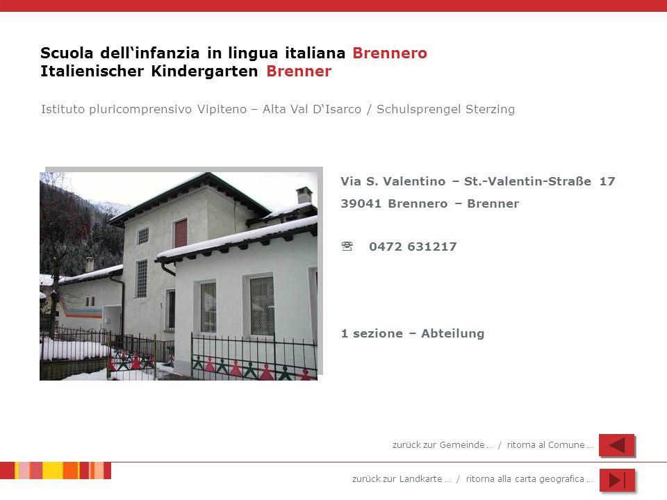 zurück zur Landkarte … / ritorna alla carta geografica … Scuola dellinfanzia in lingua italiana Brennero Italienischer Kindergarten Brenner Via S. Val