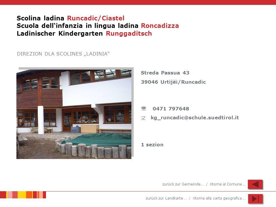 zurück zur Landkarte … / ritorna alla carta geografica … Scolina ladina Runcadic/Ciastel Scuola dellinfanzia in lingua ladina Roncadizza Ladinischer K