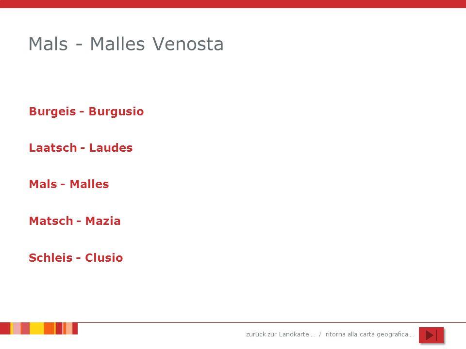 zurück zur Landkarte … / ritorna alla carta geografica … Mals - Malles Venosta Burgeis - Burgusio Laatsch - Laudes Mals - Malles Matsch - Mazia Schlei