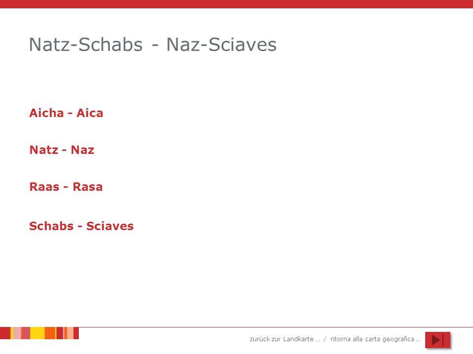 zurück zur Landkarte … / ritorna alla carta geografica … Natz-Schabs - Naz-Sciaves Aicha - Aica Natz - Naz Raas - Rasa Schabs - Sciaves