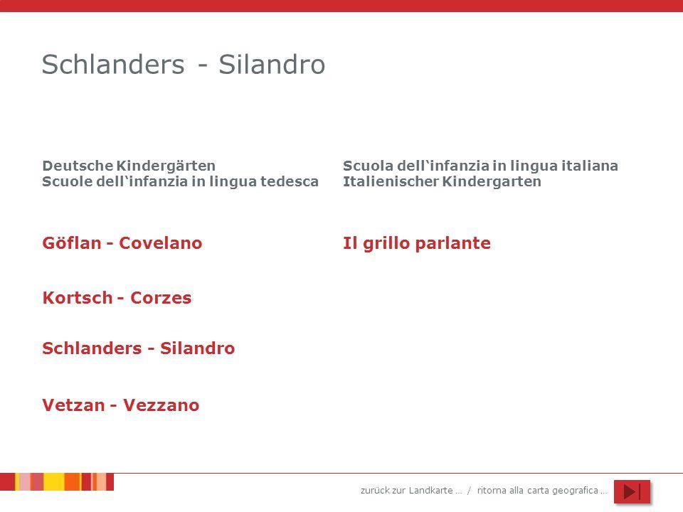 zurück zur Landkarte … / ritorna alla carta geografica … Schlanders - Silandro Göflan - Covelano Kortsch - Corzes Schlanders - Silandro Vetzan - Vezza