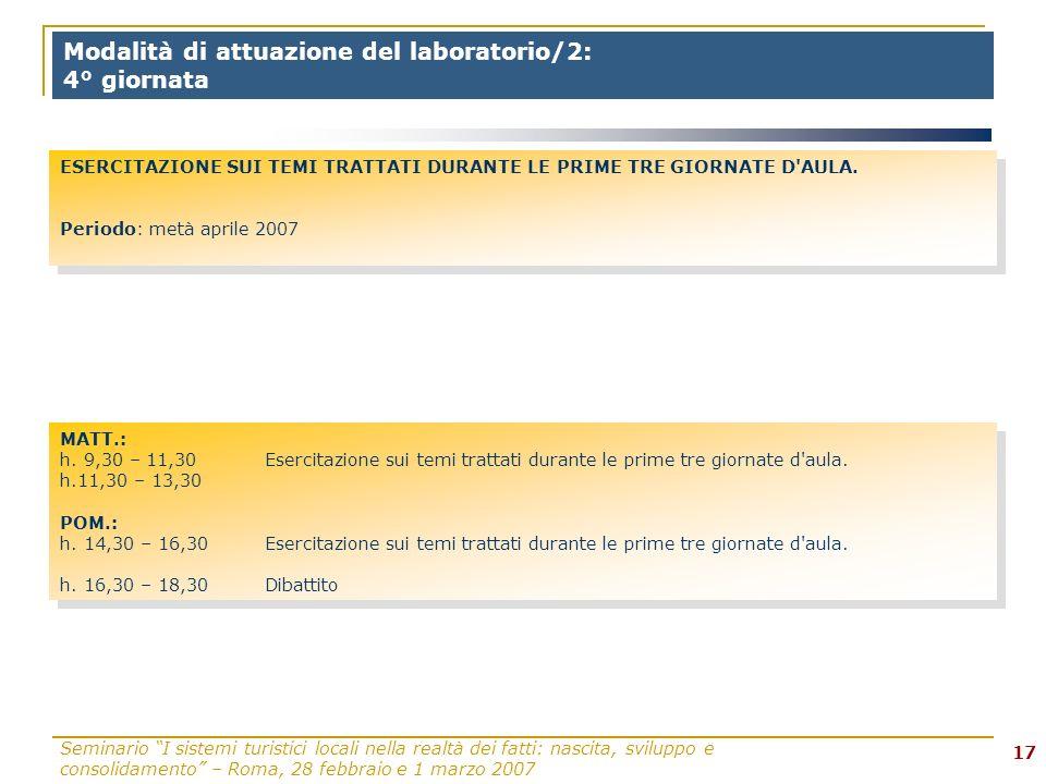 Seminario I sistemi turistici locali nella realtà dei fatti: nascita, sviluppo e consolidamento – Roma, 28 febbraio e 1 marzo 2007 17 Modalità di attuazione del laboratorio/2: 4° giornata MATT.: h.