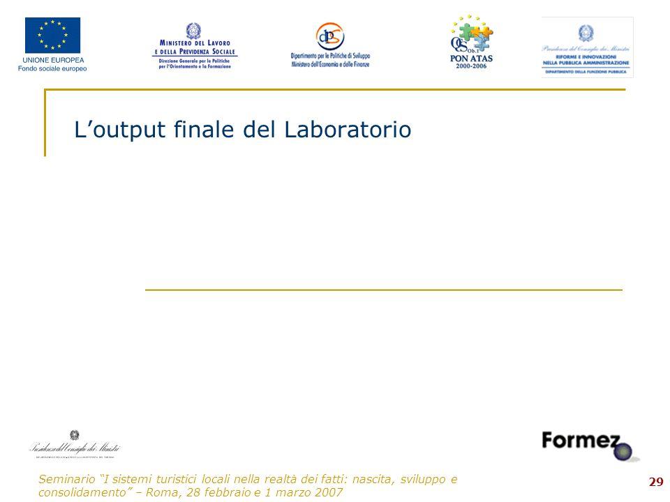 Seminario I sistemi turistici locali nella realtà dei fatti: nascita, sviluppo e consolidamento – Roma, 28 febbraio e 1 marzo 2007 29 Loutput finale del Laboratorio