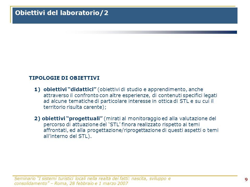 Seminario I sistemi turistici locali nella realtà dei fatti: nascita, sviluppo e consolidamento – Roma, 28 febbraio e 1 marzo 2007 10 Contenuti del laboratorio I temi