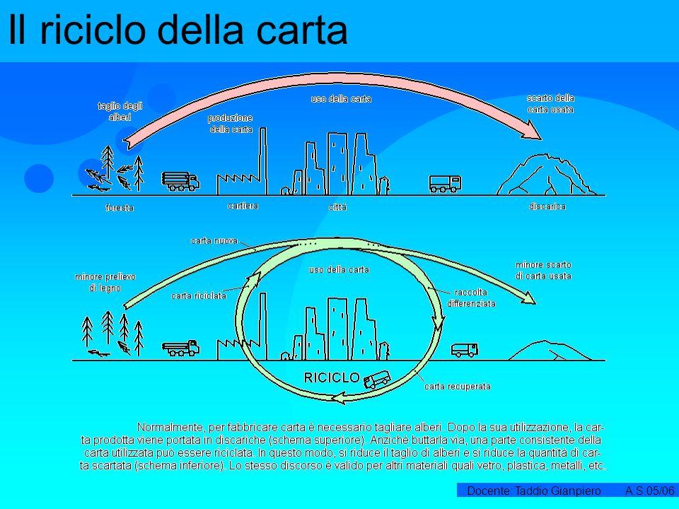Docente: Taddio Gianpiero A.S.05/06 Il riciclo della carta