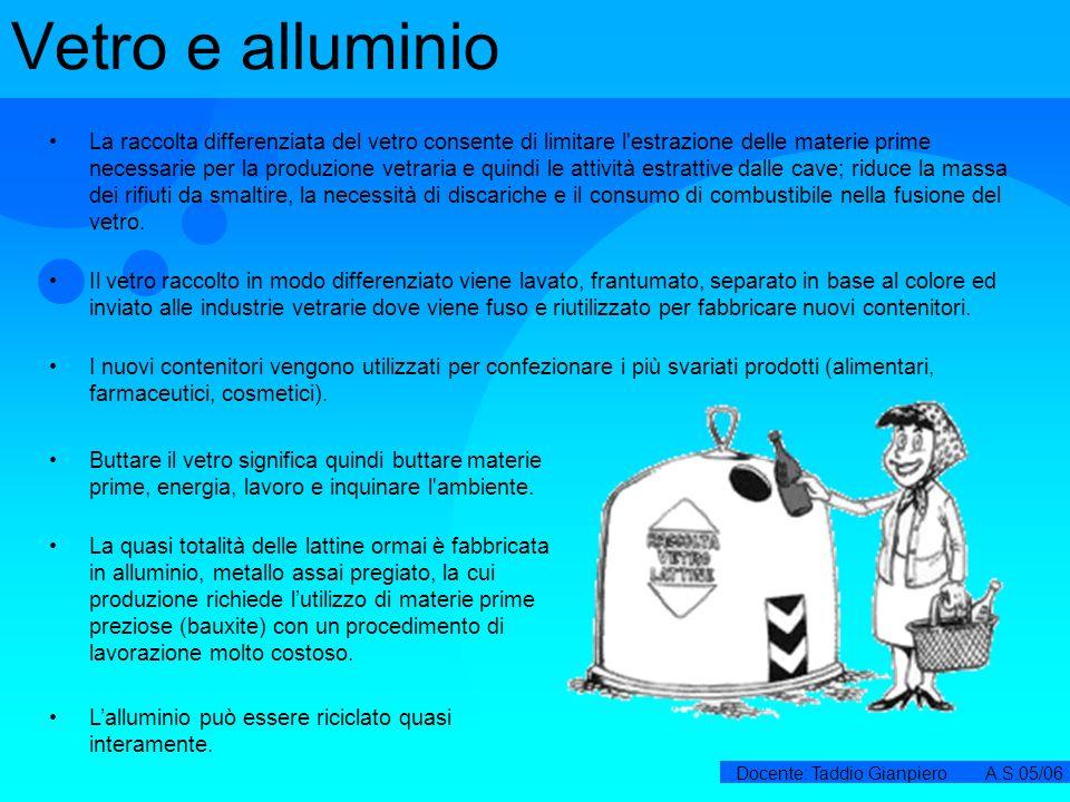 Docente: Taddio Gianpiero A.S.05/06 Vetro e alluminio La raccolta differenziata del vetro consente di limitare l'estrazione delle materie prime necess