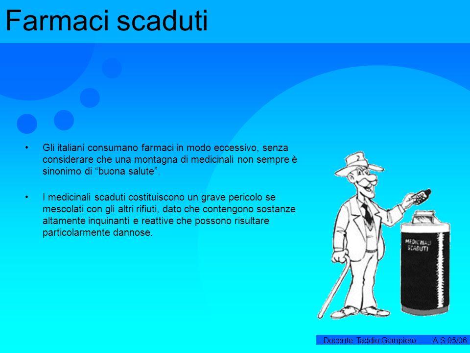 Docente: Taddio Gianpiero A.S.05/06 Farmaci scaduti Gli italiani consumano farmaci in modo eccessivo, senza considerare che una montagna di medicinali
