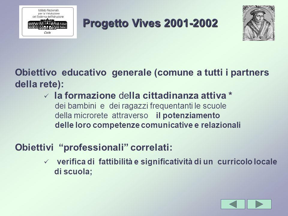 Obiettivo educativo generale (comune a tutti i partners della rete): la formazione della cittadinanza attiva * dei bambini e dei ragazzi frequentanti