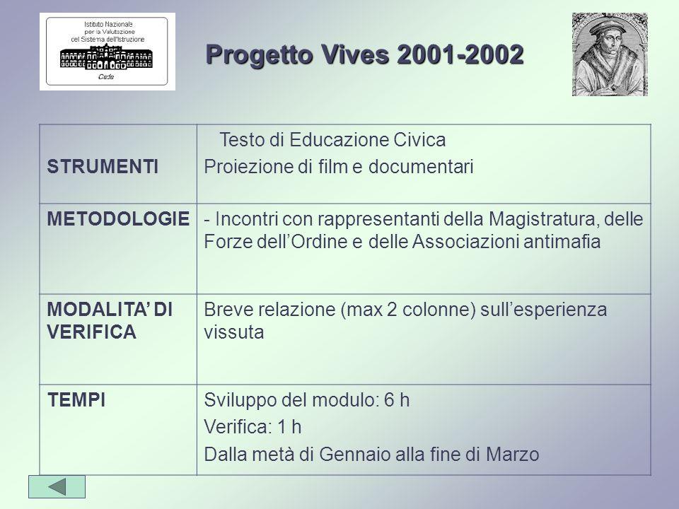 STRUMENTI Testo di Educazione Civica Proiezione di film e documentari METODOLOGIE- Incontri con rappresentanti della Magistratura, delle Forze dellOrd