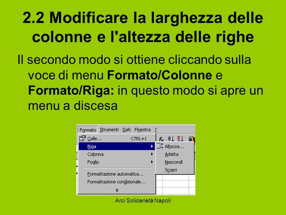 Arci Solidarietà Napoli 2.2 Modificare la larghezza delle colonne e l'altezza delle righe Il secondo modo si ottiene cliccando sulla voce di menu Form