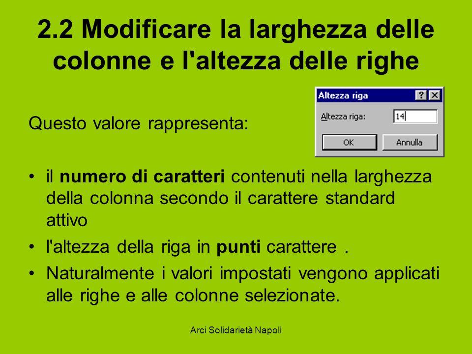 Arci Solidarietà Napoli 2.2 Modificare la larghezza delle colonne e l'altezza delle righe Questo valore rappresenta: il numero di caratteri contenuti