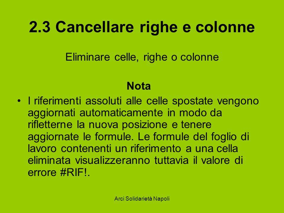 Arci Solidarietà Napoli 2.3 Cancellare righe e colonne Eliminare celle, righe o colonne Nota I riferimenti assoluti alle celle spostate vengono aggior