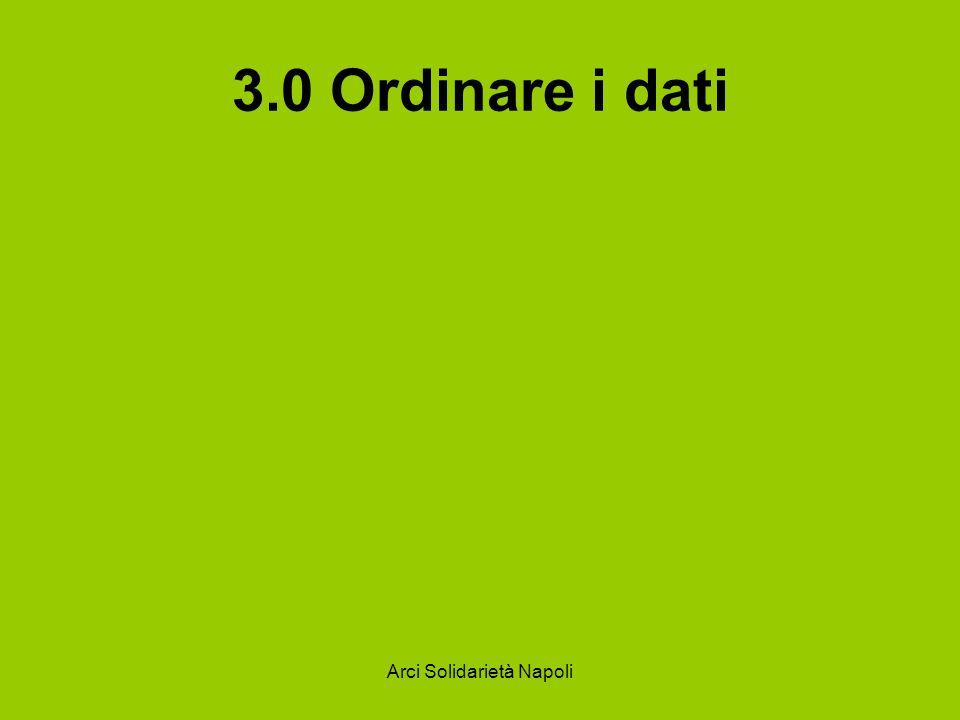 Arci Solidarietà Napoli 3.0 Ordinare i dati