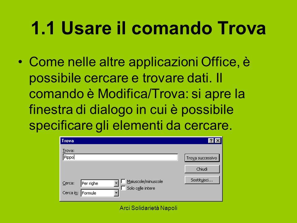 Arci Solidarietà Napoli 1.1 Usare il comando Trova Come nelle altre applicazioni Office, è possibile cercare e trovare dati. Il comando è Modifica/Tro