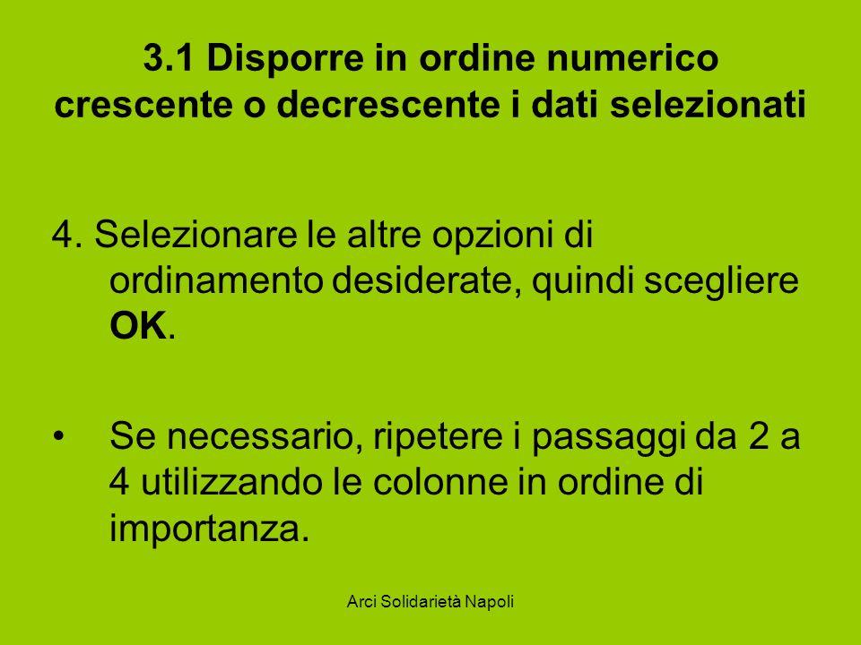 Arci Solidarietà Napoli 3.1 Disporre in ordine numerico crescente o decrescente i dati selezionati 4. Selezionare le altre opzioni di ordinamento desi