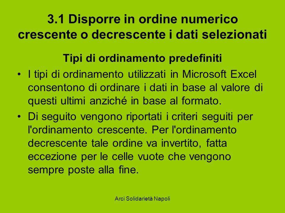 Arci Solidarietà Napoli 3.1 Disporre in ordine numerico crescente o decrescente i dati selezionati Tipi di ordinamento predefiniti I tipi di ordinamen