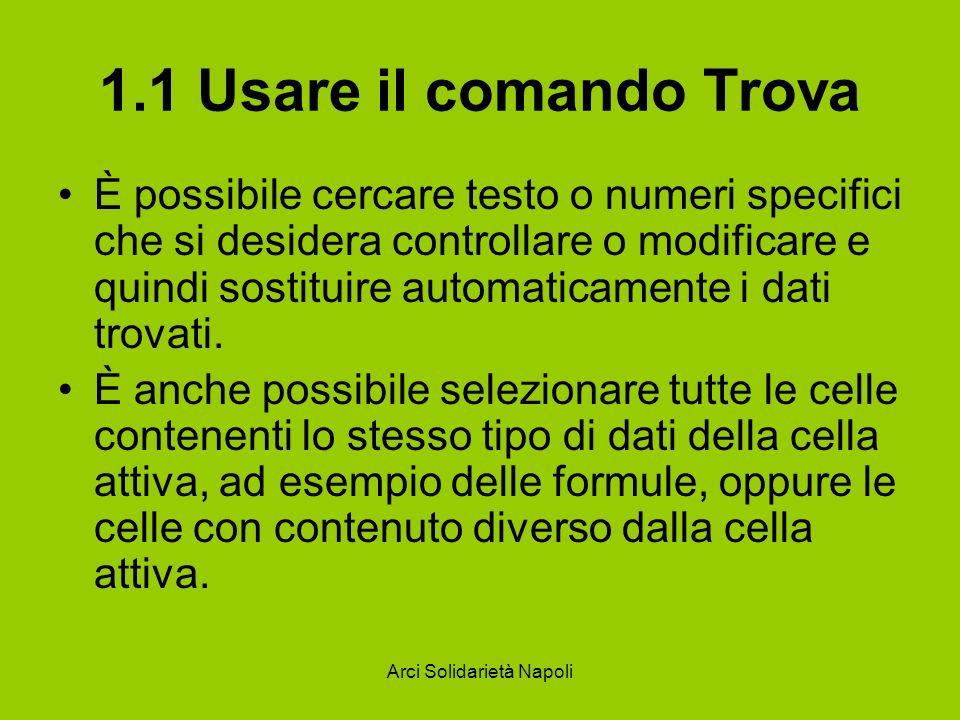 Arci Solidarietà Napoli 1.1 Usare il comando Trova Per trovare testo o numeri Selezionare l intervallo di celle in cui si desidera effettuare la ricerca.