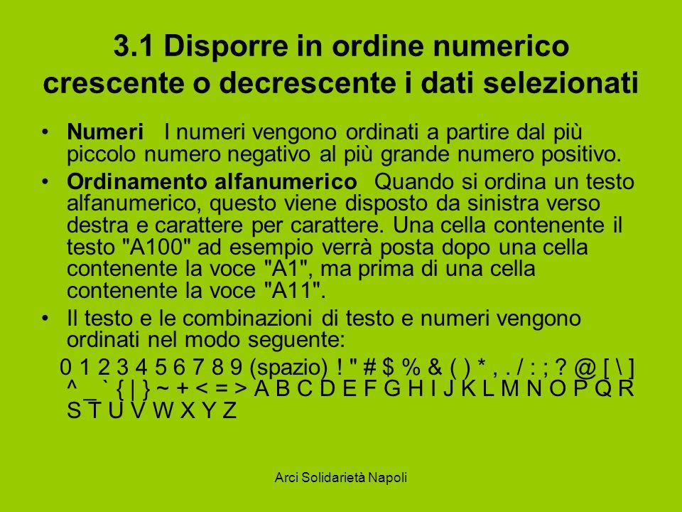 Arci Solidarietà Napoli 3.1 Disporre in ordine numerico crescente o decrescente i dati selezionati Numeri I numeri vengono ordinati a partire dal più