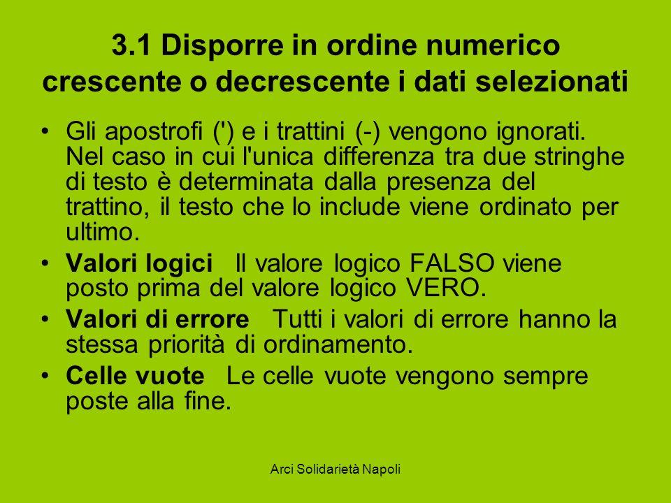 Arci Solidarietà Napoli 3.1 Disporre in ordine numerico crescente o decrescente i dati selezionati Gli apostrofi (') e i trattini (-) vengono ignorati