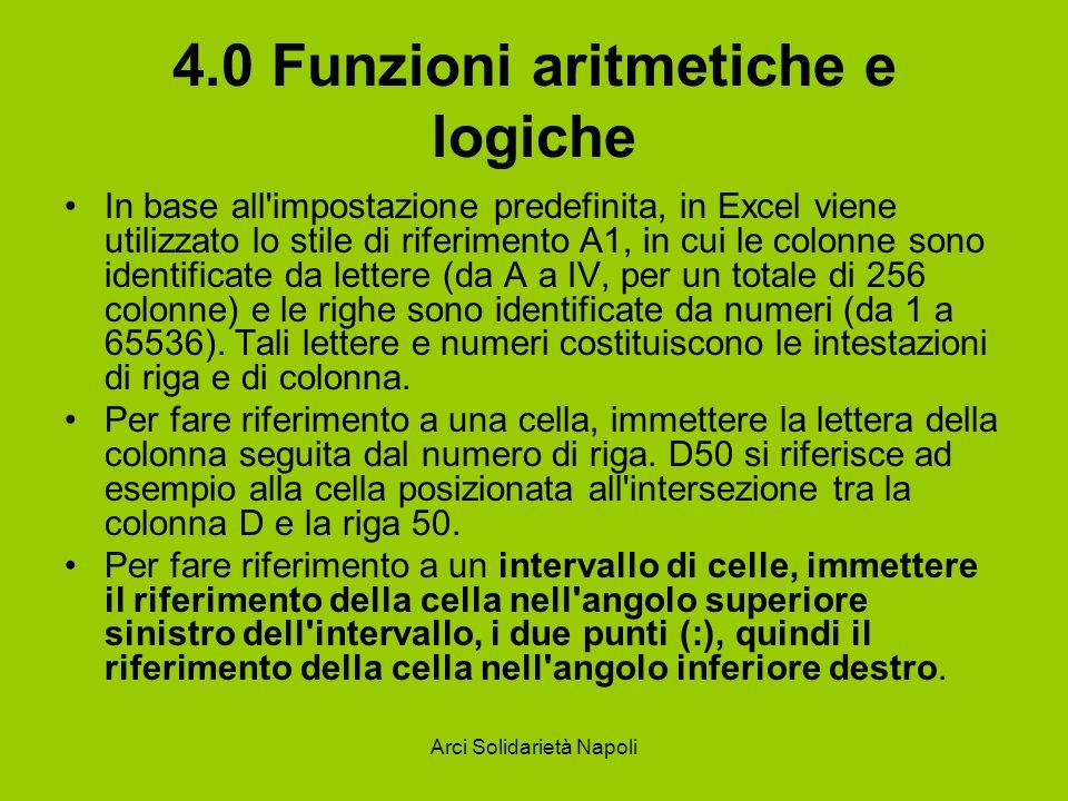 Arci Solidarietà Napoli 4.0 Funzioni aritmetiche e logiche In base all'impostazione predefinita, in Excel viene utilizzato lo stile di riferimento A1,