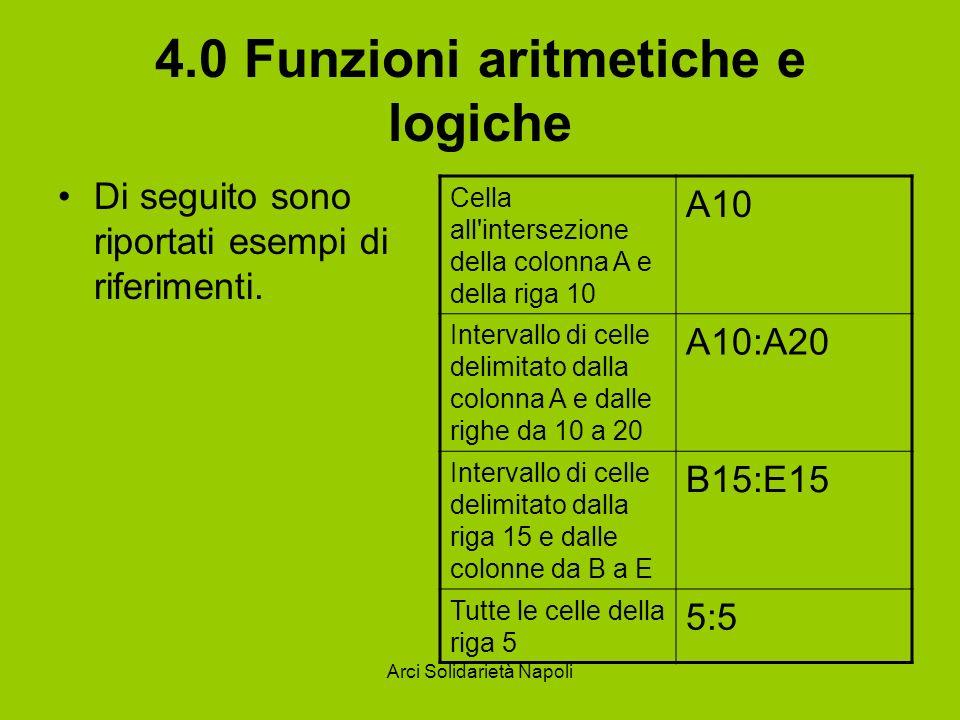 Arci Solidarietà Napoli 4.0 Funzioni aritmetiche e logiche Di seguito sono riportati esempi di riferimenti. Cella all'intersezione della colonna A e d