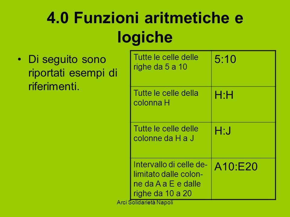 Arci Solidarietà Napoli 4.0 Funzioni aritmetiche e logiche Di seguito sono riportati esempi di riferimenti. Tutte le celle delle righe da 5 a 10 5:10