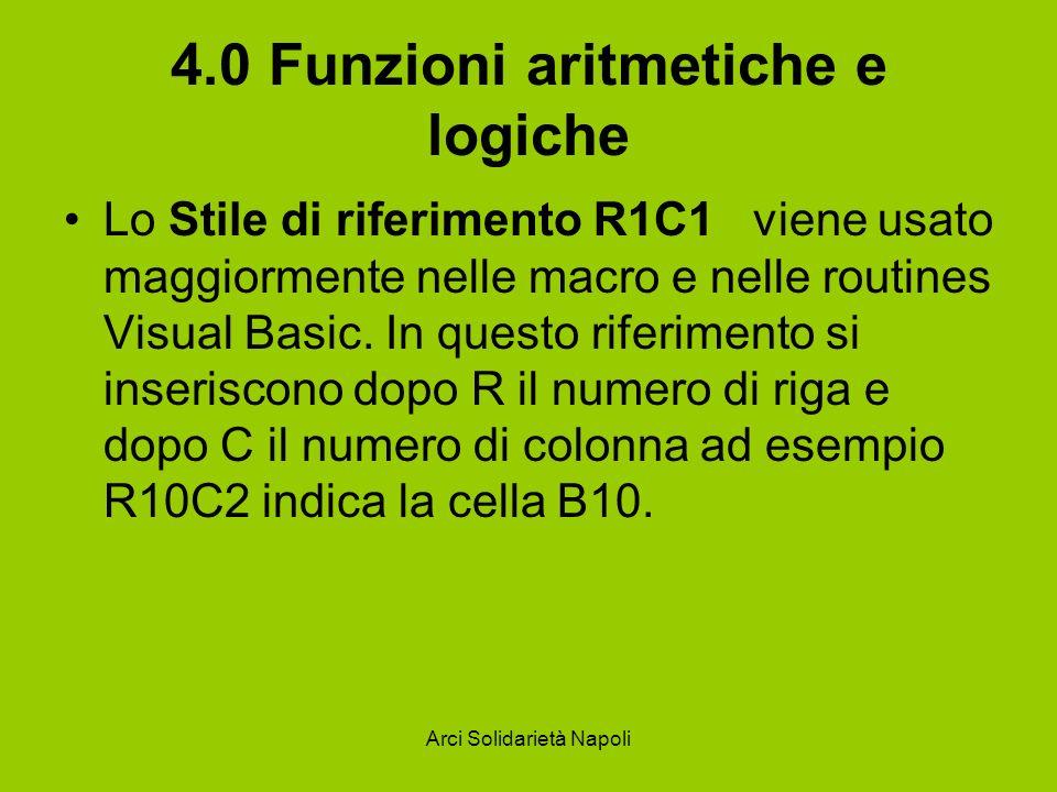 Arci Solidarietà Napoli 4.0 Funzioni aritmetiche e logiche Lo Stile di riferimento R1C1 viene usato maggiormente nelle macro e nelle routines Visual B