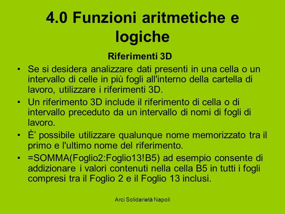 Arci Solidarietà Napoli 4.0 Funzioni aritmetiche e logiche Riferimenti 3D Se si desidera analizzare dati presenti in una cella o un intervallo di cell