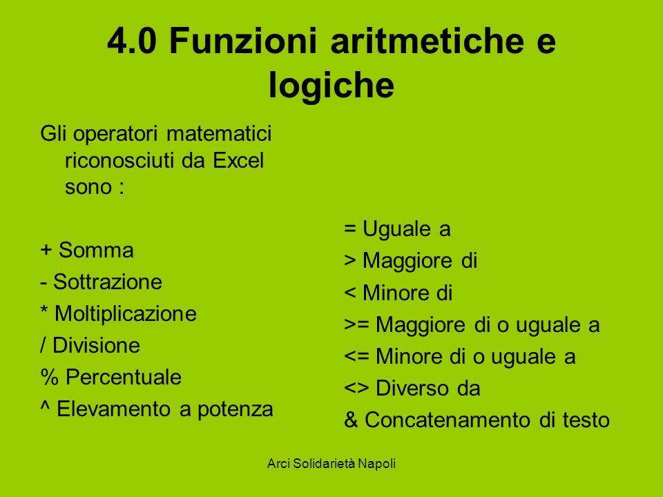 Arci Solidarietà Napoli 4.0 Funzioni aritmetiche e logiche Gli operatori matematici riconosciuti da Excel sono : + Somma - Sottrazione * Moltiplicazio