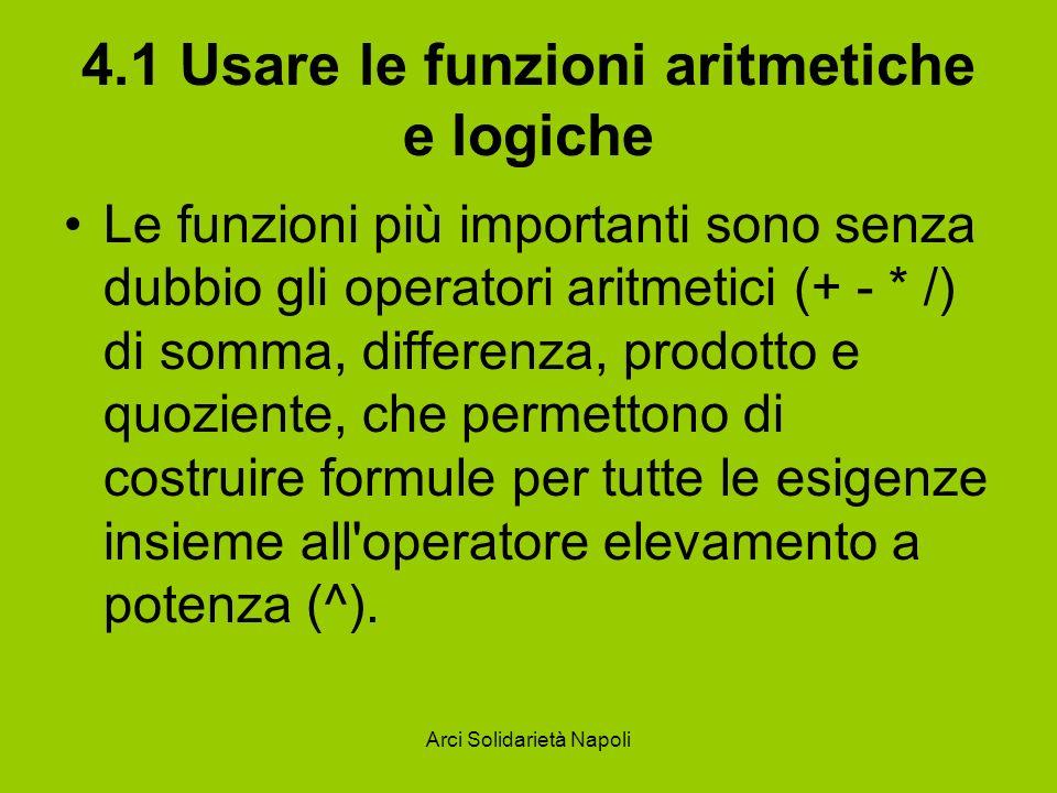 Arci Solidarietà Napoli 4.1 Usare le funzioni aritmetiche e logiche Le funzioni più importanti sono senza dubbio gli operatori aritmetici (+ - * /) di